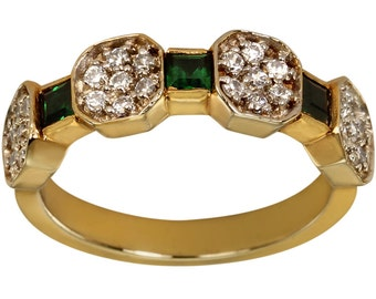 Emerald Green Gemstones And CZ's Ladies Band In Heavy 14k Gold Plated Ring