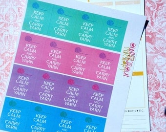 Keep Calm and Carry Yarn Stickers for EC Planner