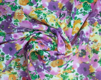 SALE! Floral Cotton Fabric - Pink/Purple/Green | Clothing, Accessories Fabric | Arts and Crafts
