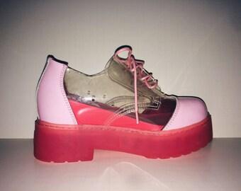 Iijin Pink + See Through Platform Shoes