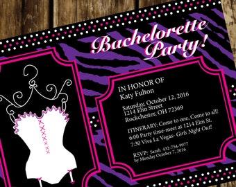 Zebra print Bachelorette Invitation