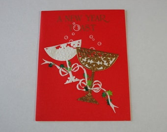 Vintage Unused Happy New Year Card, Hallmark Champagne Toast, Bright Red and Gold Happy Holidays Card