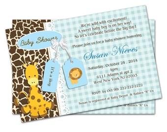 Printable File -Blue Giraffe Baby Shower Invitation