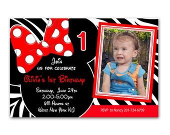 Custom Photo Red Zebra Print Minnie Mouse Birthday Invitation - Printable