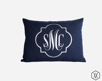 Silver Monogram Throw Pillow Cover - Gold, Silver, and More - Quatrefoil Monogram Pillow Sham - Navy