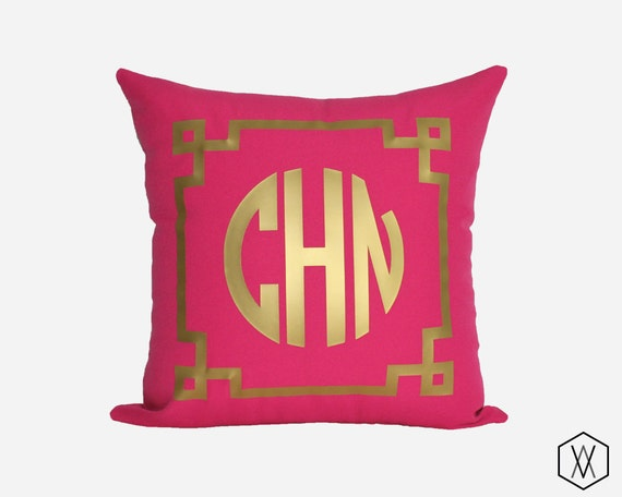Gold Monogram Throw Pillow Cover Gold Silver And More
