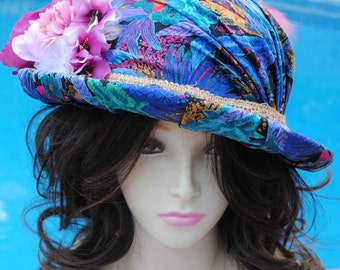 Beautiful Stunning Upcycled Womans Wool Hat Recovered with Feathers Blue
