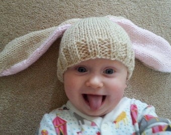 Handmade Knitted Baby Bunny Hat