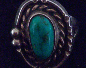 Native American Turquoise and Sterling Silver ring 36