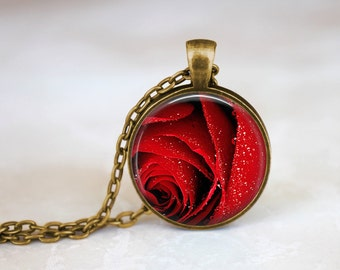 Red Rose - Flower Nature Handmade Pendant Necklace