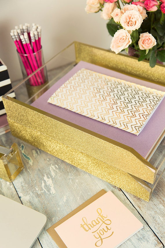 letter tray acrylic gold glitter
