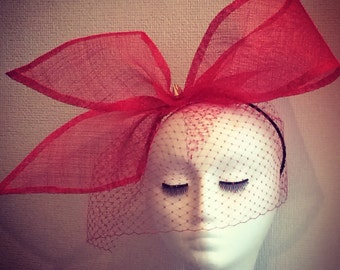 Red bow sinnamay fascinator with veil races wedding ascot derby handmade millinery formal