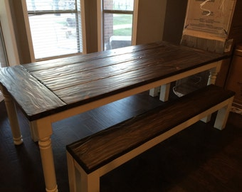 Rustic Farmhouse table. Dining table. Square leg dining table. Rustic table. Custom dining table. Antiqued dining table. Farmhouse table.