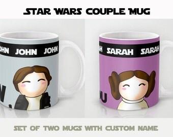 Star Wars couple Mug (Set 2 Custom Mug)  / Personalized Mug / Leia Mug / Han Solo Mug / Custom with name