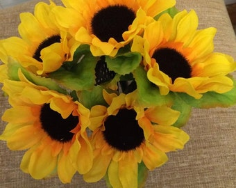 Handcrafted Sunflower Pen Bouquet You Choose Quantity Blue Or Black Ink