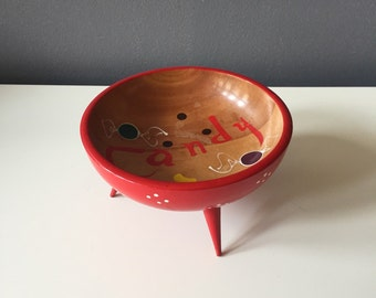 Vintage Woodpecker Woodware Handpainted Candy Dish with Tapered Feet