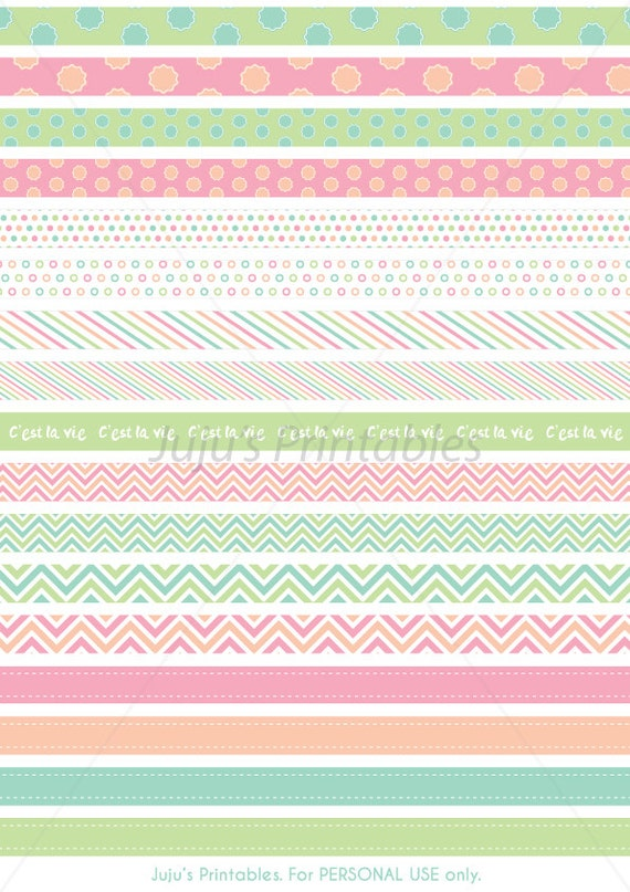 17 Printable Washi Tape Strips Instant Download For