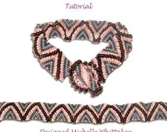 Reverse Flat Celini Wave Needlework Bracelet Tutorial PDF