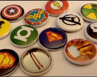 """Super Heroes 1"""" pin Buttons Set Of (12)"""