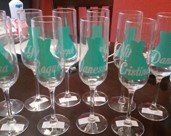Wedding Party Wine Glasses and Beer Mug. Bridesmaids & Groomsmen gifts.