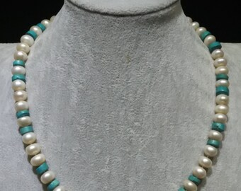 Freshwater flat pearl with turquoise necklace