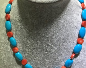 Oval shape blue turquoise with red coral button necklace