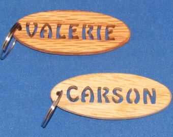 Personalized Hand Cut Oval Keychain - Stencil