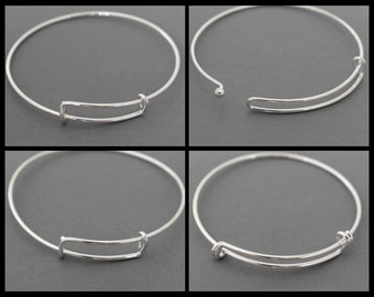 CREATE your Bangle - Personalized and Expandable Wire Bangle Bracelet - ADD a Charm / Initial and Birthstone - By Renee & Alex USA  # 616