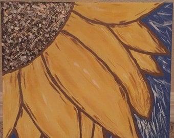 12 x 12 Sunflower acrylic painted canvas