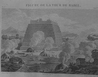 The Tower of Babel - engraving original - 1824