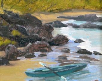 "Lets Kayak, 12""x 9"", Original Oil Painting on Canvas"