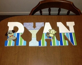 hand painted wall letters wooden letters kids room and nursery customized