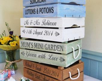 Personalised Vintage Style Apple Crate / Planter / Wedding  / Rustic Bushel Box