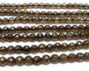 Faceted Smoky Quartz Beads, 64 Facets Round Smoky Quartz Strands, 6mm 8mm 10mm 12mm Natural Smoky Quartz Faceted Beads Bulk Wholesale (Y37)