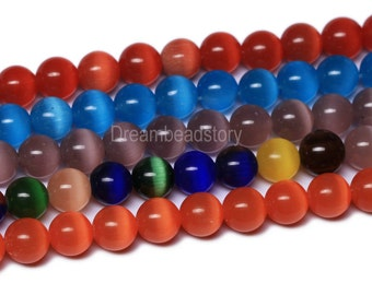 Cat Eye Beads Strands, Orange, Red, Blue, Multi Color Cats Eye Beads, 6 8 10mm Round Cats Eye Stone Beads For Handmade Jewelry(B117)