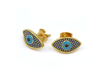 Eye Brass Stud Earrings (Minimalist Geometric Genuine Gold Plated Hand Painted Jewelry, RSN4590BU-E)