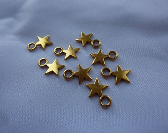 11mm Tiny Gold Star Charms (set of 10)