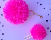 Fluro Pink Planner Puff Pom Pom Charm & Paperclip set of 2. Filofax. Erin Condren. Kikkik. Color Crush