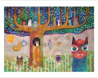 猫の集会/Cat Illustration