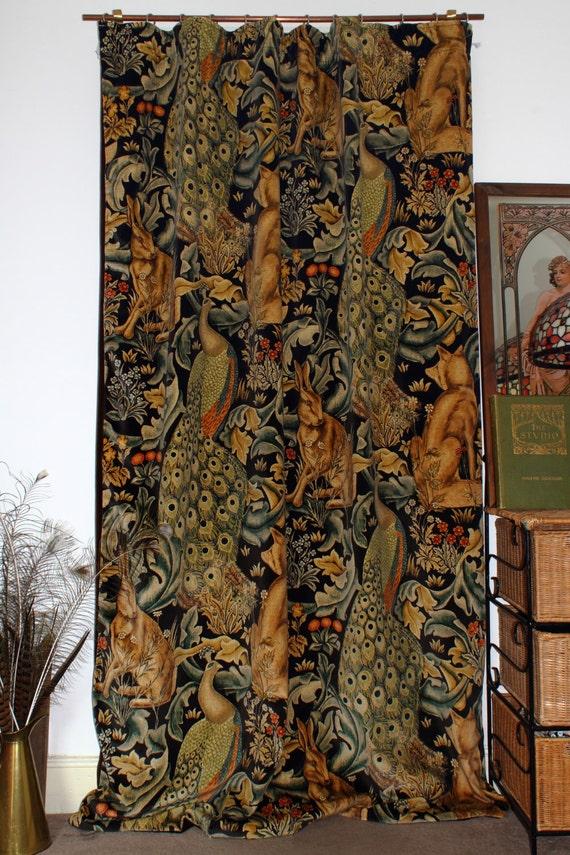 William Morris Forest Charcoal Velvet Portiere Velvet Lined