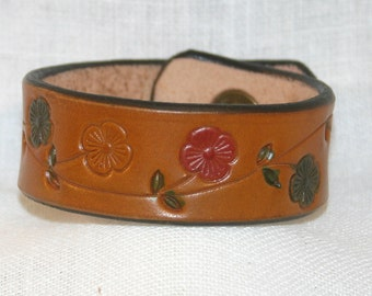 Leather Flower Wristband