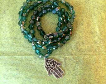 Blue Green Swarovski Crystal Necklace