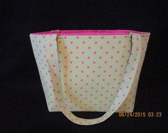 Lime green with Pink polka dots Handbag