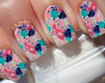 Blue Roses Nail Decals