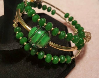 Jade and Czech Glass Memory Wire