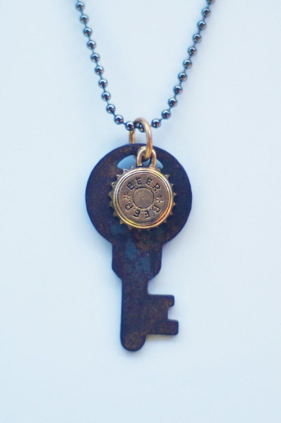 Vintage key with beer cap charm necklace by charmedessences for Beer cap jewelry