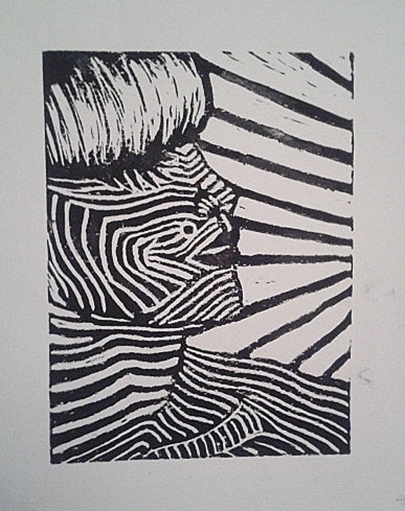 Black and white Psychedelic Punk Lino Block Print.