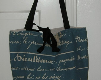 French Calligraphy Tote