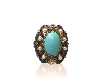Turquoise Antique Ring With Pearls & Diamonds