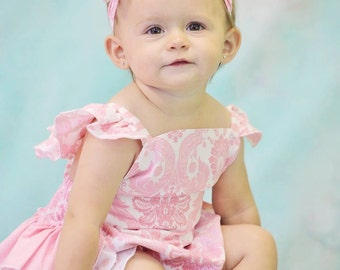 Girls custom boutique over the top Baby Ruffle romper pink/white